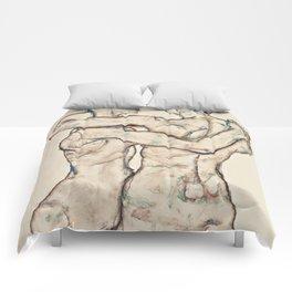 "Egon Schiele ""Naked Girls Embracing"" Comforters"