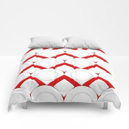 White Circles And Red Squares Abstract Geometric Pattern Comforters