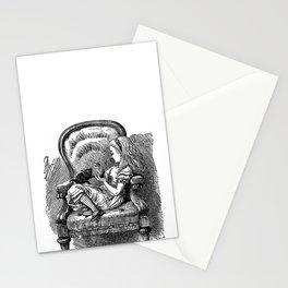 Vintage Alice in Wonderland with black kitten antique book drawing emo goth illustration art print  Stationery Cards