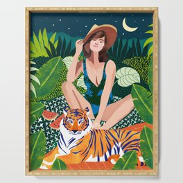 Living In The Jungle With My Tiger Serving Tray