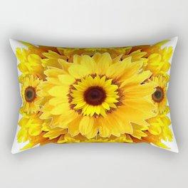 YELLOW SUNFLOWER  CLUSTER WHITE GARDEN ART Rectangular Pillow