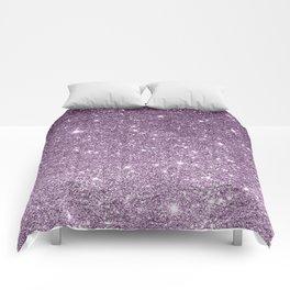 Stylish lavender lilac modern glitter gradient Comforters