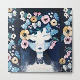 Flower Crown portrait Metal Print
