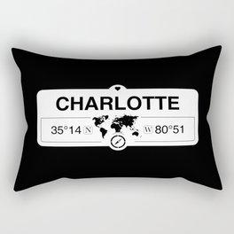 Charlotte North Carolina GPS Coordinates Map Artwork Rectangular Pillow