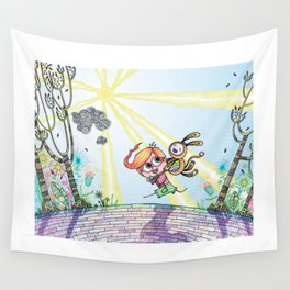 Laughing Along the Path - One Boy and a Toy Wall Tapestry