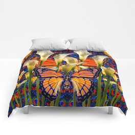 DECORATIVE WHITE CALLA LILIES & MONARCH BUTTERFLY GARDEN COLLAGE Comforters
