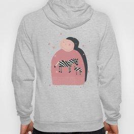 Pink Knitted Zebra Hoody