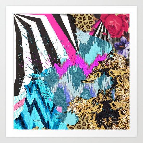 Fashion   Chic aztec pink teal zebra stripes leopard pattern Art Print