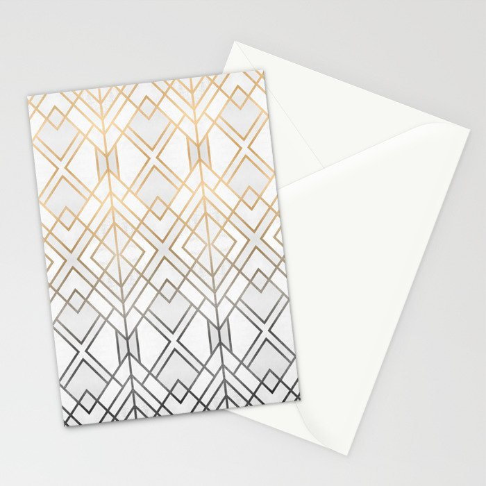 Gold And Grey Geo Stationery Cards