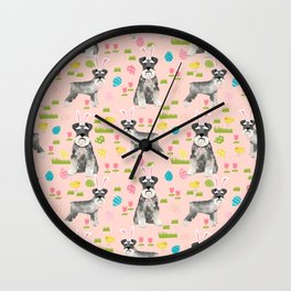 Schnauzer easter costume spring easter bunny pure breed dog pattern gifts Wall Clock