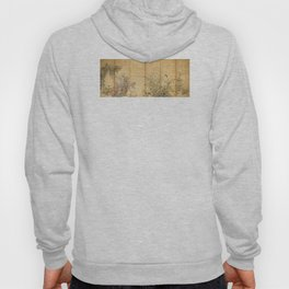 Japanese Edo Period Six-Panel Gold Leaf Screen - Spring and Autumn Flowers Hoody