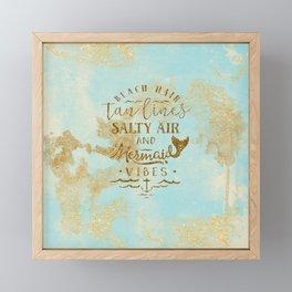 Beach - Mermaid - Mermaid Vibes - Gold glitter lettering on teal glittering background Framed Mini Art Print