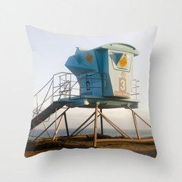 Malibu California Lifeguard Tower Throw Pillow