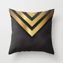 Back and gold geometric design Throw Pillow