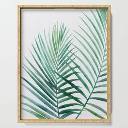 Emerald Palm Fronds Watercolor Serving Tray