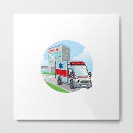 Cartoon Ambulance Car With Hospital Building Backgrund Metal Print