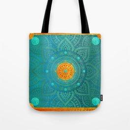 """Turquoise and Gold Mandala"" Tote Bag"