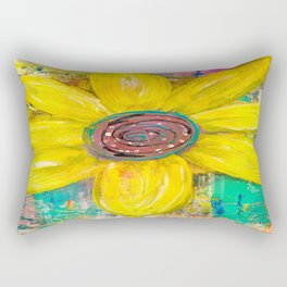 Abstract Yellow Flower Rectangular Pillow