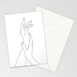 Hands line drawing illustration - Dia Stationery Cards