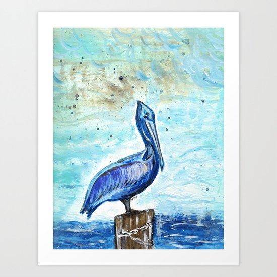 Blue Pelican Art Print