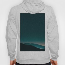 Minimalist Landscape Photography Night Sky Turquoise Teal Mountains Hoody