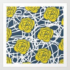 YELLOW ROSE SQUIGGLE Art Print