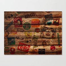 Wooden wall of Brands Canvas Print