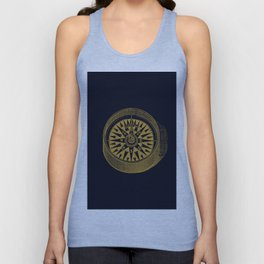 The golden compass I- maritime print with gold ornament Unisex Tank Top