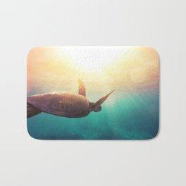 Sea Turtle - Underwater Nature Photography Bath Mat