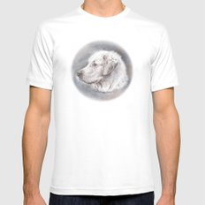 Golden Retriever Dog Drawing MEDIUM White Mens Fitted Tee