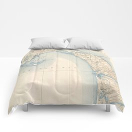 Vintage Map of Lower Cape Cod Comforters