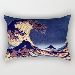 The Great Wave Off Kanagawa Inverted Katsushika Hokusai Rectangular Pillow