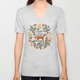 Fox and Flowers - Wander and Wonder Unisex V-Neck