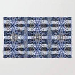Feathery Indigo Antiqued Boho Geometric Print Rug