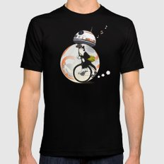 CAT INSIDE DROID Black Mens Fitted Tee LARGE
