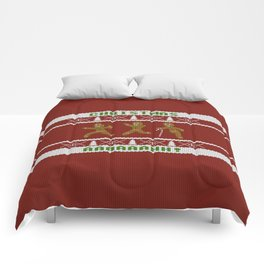 Ugly Christmas Sweater Scared Gingerbread Men Red Comforters