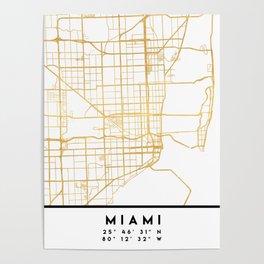 MIAMI FLORIDA CITY STREET MAP ART Poster