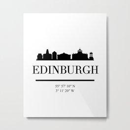 EDINBURGH SCOTLAND BLACK SILHOUETTE SKYLINE ART Metal Print