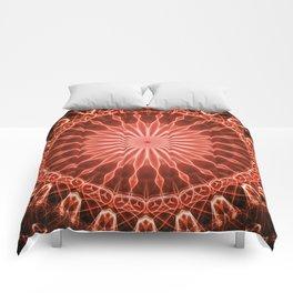 Pretty glowing red mandala Comforters