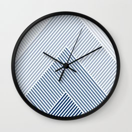 Shades of Blue Abstract geometric pattern Wall Clock