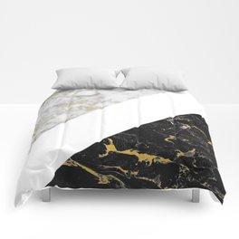 Marble Mix // Gold Flecked Black & White Marble II Comforters