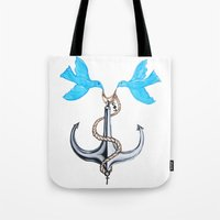 sam smith Tote Bags featuring Sam Anchor of Love by Annette Jimerson