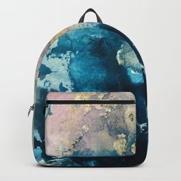 Timeless: A gorgeous, abstract mixed media piece in blue, pink, and gold by Alyssa Hamilton Art Backpack