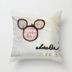 Adorable Mouse Fleur de lis Painting Throw Pillow