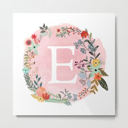 Flower Wreath with Personalized Monogram Initial Letter E on Pink Watercolor Paper Texture Artwork Metal Print