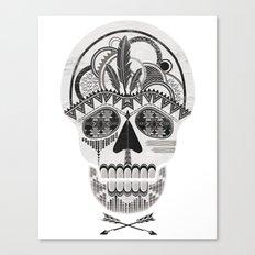 AZTEC SKULL B/W  Canvas Print