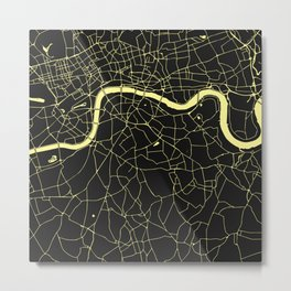 London Black on Yellow Street Map Metal Print