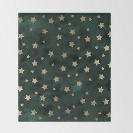 Modern gold christmas stars geometric pattern green watercolor Throw Blanket