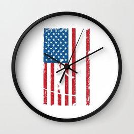 Slackline Slack Rope Walking Slackliners Slacklining American Flag USA Gift Wall Clock