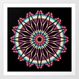 Neon Mandlala Art Print